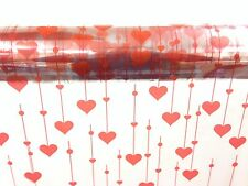 2M X 80CM HEART PATTERN CELLOPHANE WRAP RED HANGING HEARTS