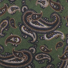 ALTEA Green Black Brown Heather Gray PAISLEY Wool Tie NWT