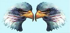 EAGLE HEAD WITH AMERICAN FLAG VINYL GRAPHIC DECAL/STICKER - FULL COLOR PAIR