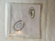 Monogrammed Handkerchief with blue letter O in floral wreath. new in packet
