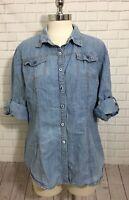 Hester & Orchard Western Boho Chambray Light Denim Jacket Top Blouse Woman Sz XL