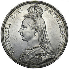 1888 CROWN (WIDE DATE) - VICTORIA BRITISH SILVER COIN - V NICE