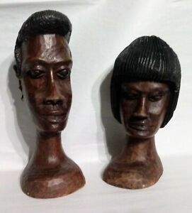 ULTRA RARE Vintage JAMAICAN~ARTIST SIGNED~WHITLEY MURRAY~Wood Carved Man & Woman