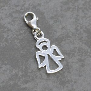 925 Sterling Silver Clip On OPEN ANGEL CHARM - 15mm w/ lobster trigger clasp