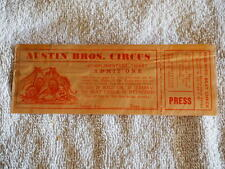 Vintage AUSTIN BROTHERS CIRCUS Press Ticket unissued