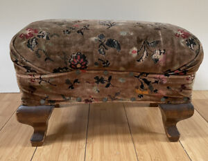 Victorian Style Overstuffed Pouf Top Stool Velvet & Nail Heads