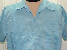 Men's L Guayabera Mexican Wedding Shirt Light Blue Embroidered Zipper Poly-Blend