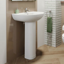 Modern Style 1 Tap Hole Stylish Bathroom Wash Basin Full Pedestal Ceramic White