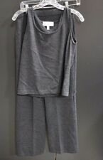 St John Collection 2 pc Charcoal Gray Knit Dress Pants & Sleeveless Top Size 4