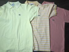 Lacoste Polo Collar Shirt Alligator Lot Of 3 Yellow, Striped, Pink Size 6 Large