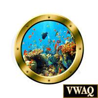 Underwater Porthole Wall Sticker 3D Window Fish Decal Peel And Stick VWAQ-GP19