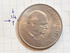 COIN GREAT BRITAIN 1965 ONE CROWN COPPER NICKEL CHURCHILL QUEEN ELIZABETH