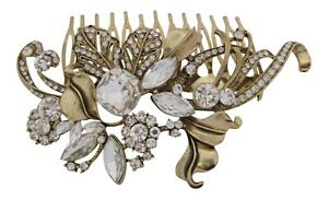 Gold Vintage Inspired Crystal Hair Comb Wedding Hair Accessories Bridal Comb New