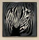 Large Signed Zebra Painting Signed Carlton