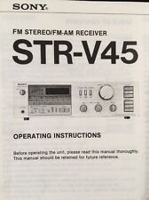 """Sony STR-V45 Stereo Receiver """"Original"""" Owners Manual 14 Pages w/block diagram"""
