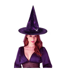 Purple Witch Hat Adult Halloween Costume Accessory Spider Ornament Cobweb Lace