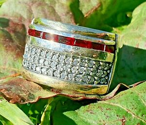 Women Ring Style 3 Sterling Silver with Gold Red Zircons