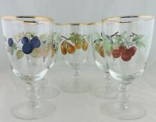 VINTAGE WINE/WATER GLASS CHERRY PLUM PEACH HARVEST STEMWARE GOLD RIMS SET 5