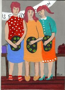 Family Reunion Food Poisoning Sisters original outsider art painting Folk
