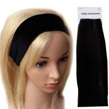 Black Wide Velvet Stretch Fabric Headband Hair Band Gym Running Sports Elastic