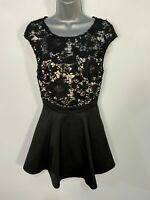 WOMENS LIPSY LONDON SIZE UK 10 BLACK SHORT LACE OCCASION PARTY MINI FLARE DRESS