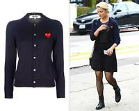 """NWT CDG Comme des Garcons """"PLAY"""" Women's Sweater coat Black Red Heart Overcoat S"""