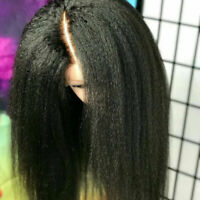 100% Virgin Indian Real Human Hair Wigs Yaki Kinky Straight Lace Front Wig Cheap