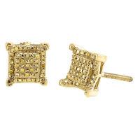 Yellow Diamond Earrings 10K Gold Round Cut Pave Kite Design Studs 0.15 Tcw.