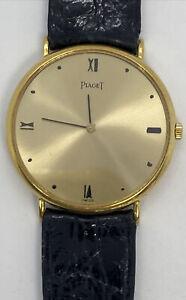 Piaget Mens Quartz Solid 18k Gold Watch W/ Box&Papers