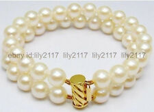 """Beautiful! 2ROW 8-9mm REAL WHITE CULTURED PEARL BRACELET 7.5"""""""