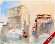 GRAND CANAL IN VENICE ITALY ITALIAN WATERCOLOR PAINTING ART REAL CANVAS PRINT