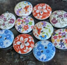 10 Mixed Wooden Summer Flower Buttons 18mm 2 holes