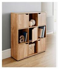 New 5 Door Oak 9 Cube Wooden Storage Unit Display Shelving Book Shelves Shelf