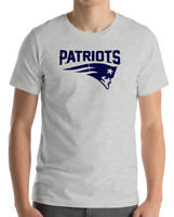 New England Patriots GRAY T-Shirt navy Graphic Cotton Adult Logo  S-2XL