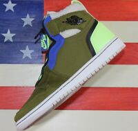 Nike Air Jordan 1 Zip High Utility Pack Womens Shoes Olive Black Volt AV3723-300