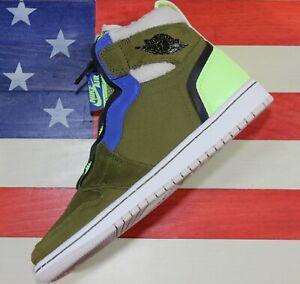 Nike Air Jordan 1 Zip High Utility Pack Womens Shoes Olive Black Volt AV3723-300