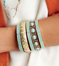 NEW Lia Sophia Candy Coated Stretch Bracelet Turquoise Aqua Gold SHIPS FREE