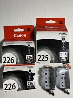 Lot Of 5 GENUINE CANON PIXMA OEM CLI-226BK & PGI-225PGBK BLACK INK New SEALED