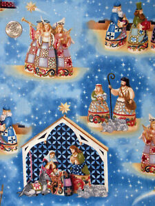 Christmas Nativity Angel Jesus Religious Cotton Fabric QT Jim Shore By The Yard