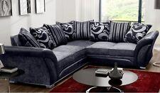 Shannon 5 Seater Large Corner Sofa - Black/Grey