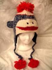 deLux SOCK MONKEY HAT Knit classic trench coat blue Costume ADULT men women cap