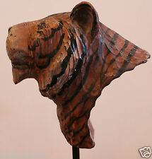 Tiger Hand Carved and Paint Quality Wood Pine Museum Jungle Head Mounting Statue