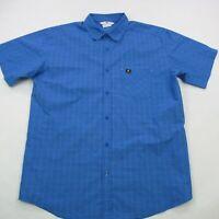 Solomon Men's Button Front Checks Shirt Camping Short Sleeve Blue Large
