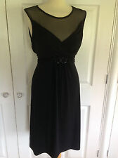 STAR by JULIEN MACDONALD stunning black silky jersey dress with mesh trim UK 16