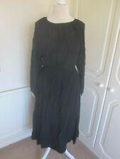 BNWT 2020 H&M BLACK DRESS WITH SMOCKING & PEARL CUFFS MIDI DRESS SIZE M £24.99