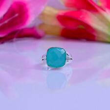 Splendid Blue Chalcedony Gemstone 925 Sterling Silver Handmade Ring All Size
