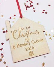 Personalizado De Árbol De Navidad Decoración Casa Nuevo Hogar Regalo De Madera Personalizadas