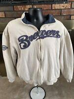 Vintage Milwaukee Brewers MLB Baseball Full Zip Insulated Sweater Mens Large