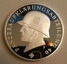 14 Panzer div Steel Helmet silver clad Third Reich Nazi coin  WW2 WWII German