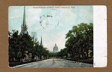 Madison,WI Wisconsin, Washington Avenue West looking at Capitol used 1910